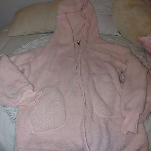 Fuzzy pink open sweater